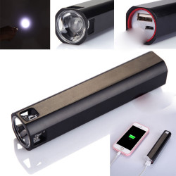 POWER BANK 2400 MAH + TORCIA LED FLASHLIGHT 2 INTENSITA' DI LUCE DIVERSA USB RICARICABILE TASCABILE SMARTPHONE colore casuale