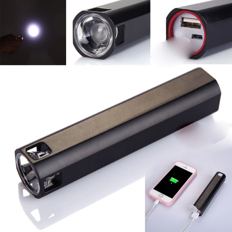 3 IN 1 POWER BANK 3800 + TORCIA LED + ACCENDINO ANTIVENTO USB SENZA FIAMMA RICARICABILE  TASCABILE SMARTPHONE colore casuale