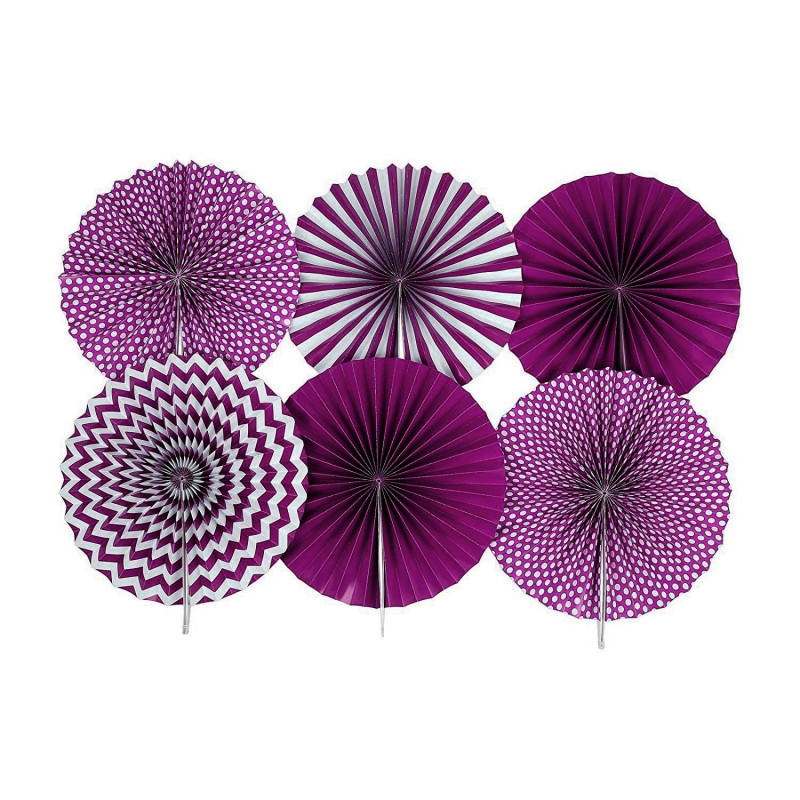 SET 6 PEZZI PENDENTE ROSONE VENTAGLIO viola ADDOBBO IN CARTA 14''/35.5cm COMPLEANNI PHOTO BOOT FESTE PARTY fantasia mista