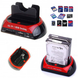 DOCK DOCKING STATION md875 J12V HARD DISK 3,5 2,5 SATA IDE 2 HD HDD BOX CASE USB HOST HUB SD TF MS E-SATA XD CF MD